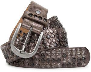 styleBREAKER Nietengürtel im Vintage Design mit Stern Nieten, kürzbar, Unisex 03010050, Farbe:Antik-Hellgrau, Größe:85cm
