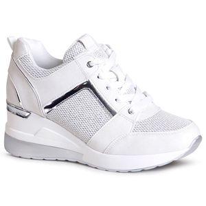 topschuhe24 1996 Damen Keilabsatz Sneaker Halbschuhe, Farbe:Weiß Silber, Größe:38 EU