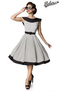 Gepunktetes ärmelloses Vintage Swing-Kleid, Farbe: Weiß/Schwarz, Größe: S