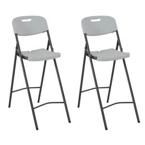 Klappbare Barstühle 2 Stk. HDPE und Stahl Weiß - Balkonstuhl Terrassenstuhl Relaxstuhl Liegestuhl