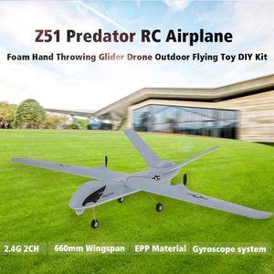 Z51 2.4G 2CH Predator Fernbedienung RC Flugzeug 660mm Spannweite Schaum Hand Werfen Segelflugzeug Drone DIY Kit fuer Kinder Anfaenger