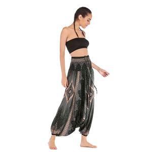 Damen Blumendruck Pluderhosen Smocked Taille Yoga Tanzhose Schwarz Grün Haremshose wie beschrieben