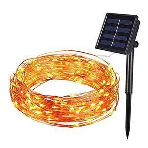 karpal Solar Lichterkette aussen 10M 100 LED Kupferdraht Lichterkette 8 Modi Wasserdicht fuer Garten Weihnachten Party [Energieklasse A+++]