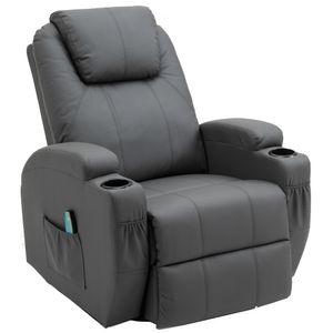 Massagesessel 360° drehbar Relaxsessel Wärmefunktion Fernsehsessel Liegefunktion TV Sessel Polstersessel Grau
