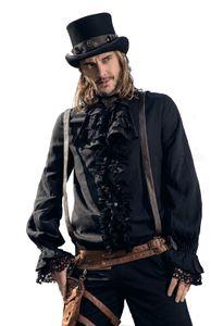 Steampunk viktorianisches Herren Hemd Schwarz Rüschen Jabot SPM011, Größe:XL