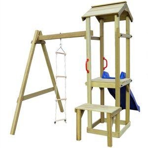 dereoir Spielturm mit Rutsche und Leiter 228×168×218 cm Holz