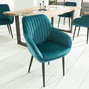 Edler Design Stuhl TURIN Samt türkis mit Armlehne Esszimmerstuhl Wohnzimmerstuhl