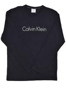 Calvin Klein Herren Langärmliges Logo T-Shirt, Schwarz M