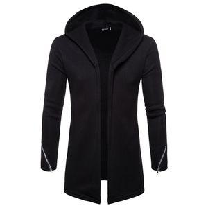 Herren Kapuze Solid Zipper Trenchcoat Jacke Strickjacke Langarm Outwear Bluse Größe:M,Farbe:Schwarz