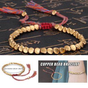 Handgemachtes tibetisches Kupferperlenseilarmband u. Armreifen Uni-Wachsfaden