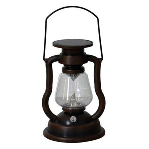 Retro Solar Petroleumlampe Tragbare Lampe nach Hause Innenhof Gartendekoration LED Flamme Kerzenlampe(C)