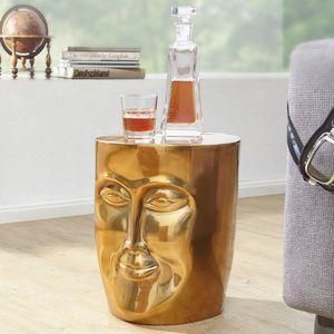 FineBuy Beistelltisch MAKA 32,5 x 39 x 35 cm Aluminium Couchtisch orientalisch | Sofatisch mit Gesicht aus Metall | Designer Ablagetisch modern | Kleiner Anstelltisch schmal, Farbe Artikel:Golden