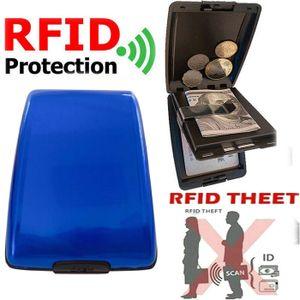 Miixia Geldbörse Aluminium Brieftasche Kreditkarten Etui RFID Schutz Dokument Storage Blau