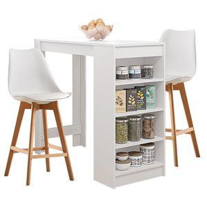 Esstisch mit 2 Stühlen Weiß Esszimmer Essgruppe 115x50x103cm Weiß für Esszimmer Essgruppe | Beistelltisch,Stehtisch,Küchentheke