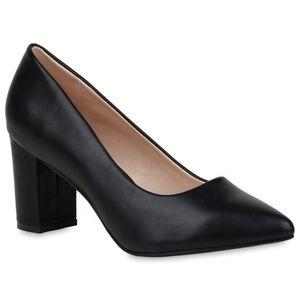 Mytrendshoe Damen Spitze Pumps Blockabsatz Abendschuhe High Heels Übergrößen 833739, Farbe: Schwarz, Größe: 42