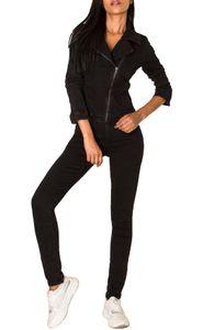 Damen Jeans Anzug Overall Biker Jumpsuit Hosenanzug Einteiler Asymmetrisch, Farben:Schwarz, Größe:36