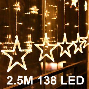 Miixia Sterne Led Lichterkette Lichtervorhang Lichtnetz Fenster Garten Außen Warmweiß  Sternenvorhang Weihnachtsdeko 2.5 Meter 138 LED