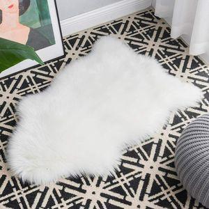 Künstliches Schaf Fell Teppich Area Rug 60*90cm Weicher Plüschteppich waschbar Deko für Bett Stuhl