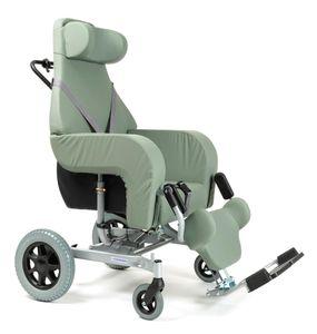 FabaCare Pflegerollstuhl mit Liegefunktion Coraille für Innen- und Außenbereich, Multifunktionsrollstuhl, Grün, Sitzbreite: 44 cm