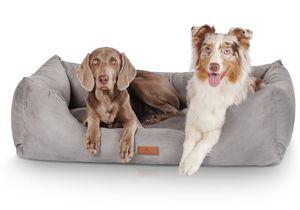 Knuffelwuff Hundebett Dreamline aus Velours XXL 120 x 85cm Grau