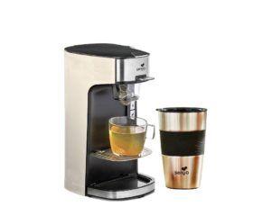 Die Teemaschine von Senya, eine elektrische Teekanne, Cremefarbe und sein doppelwandiger Isotherm-Becher aus Edelstahl