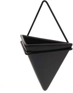 Wandvase Dreieck Keramik Blumentopf Geometrische Pflanztopf Pflanzgefäß Blumenvase Hängeampeln Pflanzgefäß Metall Pflanzenhalter für Zimmerpflanzen Balkon Wohnzimmer Deko