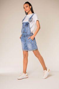 Damen Latz Jeans Shorts Kurze Denim Latzhose Stretch Bib Hot Pants Sommer Overall mit Träger, Farben:Blau, Größe:40