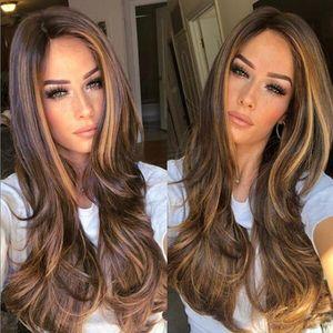 Hochtemperaturfaserbraun lange lockige Perücke Frauen Party Haarteil mit Haarnetz