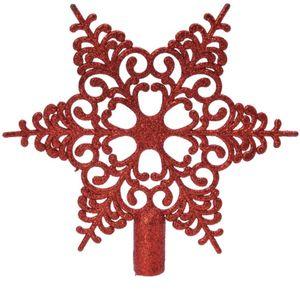 Bruchfeste Weihnachtsbaumspitze Barock Stern Rot mit Glitter aus Kunststoff