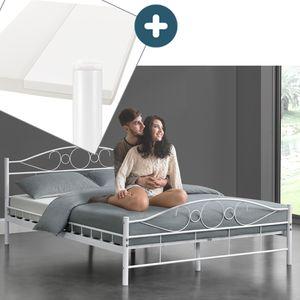 Juskys Metallbett Toskana 140 x 200 cm weiß – Komplett Set mit Matratze - Bett mit Lattenrost und Kaltschaummatratze – modern & massiv – große Liegefläche