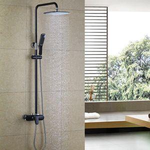 Regendusche Duschsystem Schwarz Duscharmatur Duschset 10 Zoll Kopfbrause Duschsäule mit Verstellbare Duschstange Handbrause