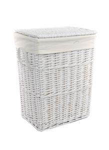 Wäschekorb Wäschetonnen Wäschetruhe Weide weiß rechteckig Bezug Deckel BxTxH 32x24x48cm