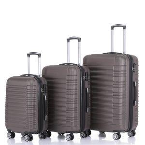 Reise Koffer Hartschalenkoffer Trolley Reisekoffer M-L-XL SET Champagner 4 Rollen Roll-Koffer Handgepäck