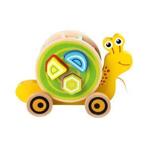 Nachzieh-Schnecke, Nachziehspielzeug, inkl. Farb- und Formensortierer, aus Holz, ab 12 Monate