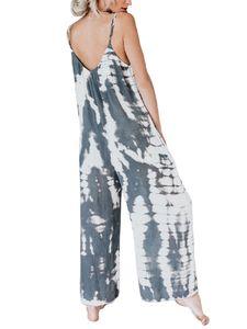 ydance Damenmode Tie Dye Summer Casual Jumpsuit Mit Weitem Bein Und Urlaub,Farbe: Grau,Größe:3XL
