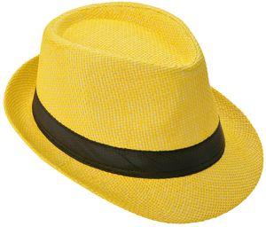 Panama Hut Fedora Strohhut Gelb 60