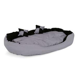 dibea 4-in-1 Hundebett, Hundekissen, Hundekörbchen mit Wendekissen, grau/schwarz, Größe L