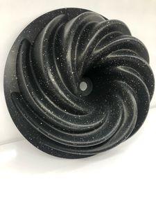 Zellerfeld Design Backform Gugelhupfform Rund Ø24cm aus hochwertigem antihaftbeschichtetem Aluguss mit geschwungener Oberflächenstruktur Schwarz (ZY-LH11-2)