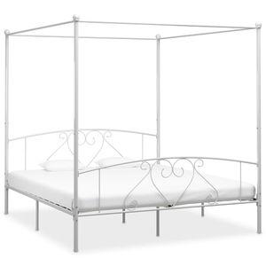 Hochwertigen Himmelbett-Gestell Bettgestell Himmelbett-Bettrahmen für Schlafzimmer Jugendbett Weiß Metall 180 x 200 cm