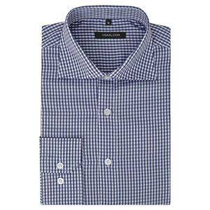 Herren Business-Hemd weiß und marineblau kariert Gr. S