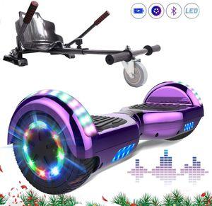 Markboard 6,5 Zoll Hoverboard mit Bluetooth, LED-Leuchten,350W *2 Motorbeleuchtung lila + Hoverkart Carbon schwarz, Self Balance Elektroscooter + Gokart ,Elektroroller mit Hoversitz, Balance Board + Go-Kart