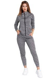 Damen Trainingsanzug Freizeit Anzug Sport Set Allover Mono Print , Farben:Grau, Größe:L-XL