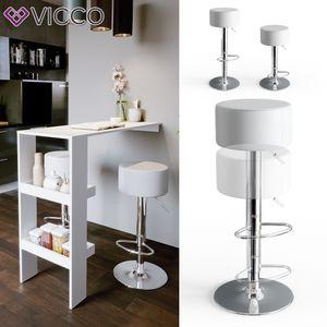Vicco Design Barhocker 2er Set Weiß Schminkhocker höhenverstellbar Drehstuhl