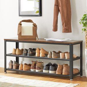 VASAGLE Schuhbank, Schuhregal mit 2 Ablagen für 10 paar Schuhe, 100 x 30 x 45 cm, Schuhorganizer, Metallgestell, Industrie-Design, vintagebraun-schwarz LBS078B01