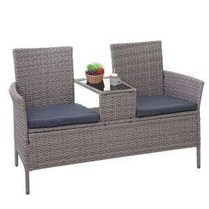 Poly-Rattan Sitzbank mit Tisch HWC-E24, Gartenbank Sitzgruppe Gartensofa, 132cm  grau, Kissen dunkelgrau