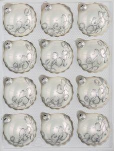12 tlg. Glas-Weihnachtskugeln Set in Hochglanz-Weiss-Silberne-Ornamente