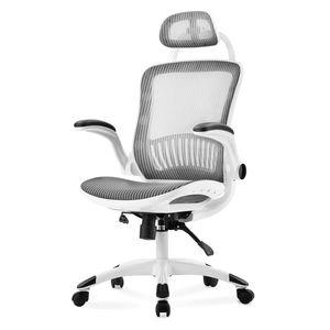 Weiß Bürostuhl Ruhesessel Sports Gaming-Stuhl, mit verstellbarer Kopfstütze & Armlehne ,Schreibtischstuhl  Chefsessel Mesh Netzdesign
