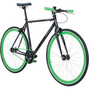 Galano Blade 700c Singlespeed Fixie Bike Bahnrad Fahrrad Fitnessbike 28 Zoll retro viele Farben, Farbe:schwarz/grün, Rahmengröße:53 cm