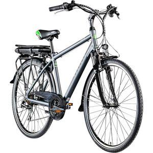 Zündapp Z802 700c E-Trekkingrad Herren E-Bike 28 Zoll Elektrofahrrad Pedelec 21 Gänge, Farbe:grau/grün, Rahmengröße:48 cm