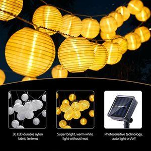 5m Lichterkette Solar Außen 20 LED Lichter Lampion Xmas Party Beleuchtung Garten Home Lichterketten